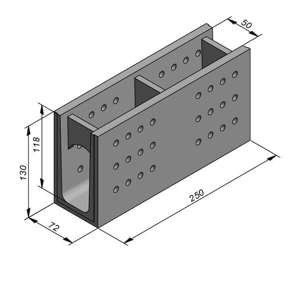 Product image for Greppel U-vormig - Deksel opliggend 250 cm x 50/72x119/130 cm FV50/130 type T4