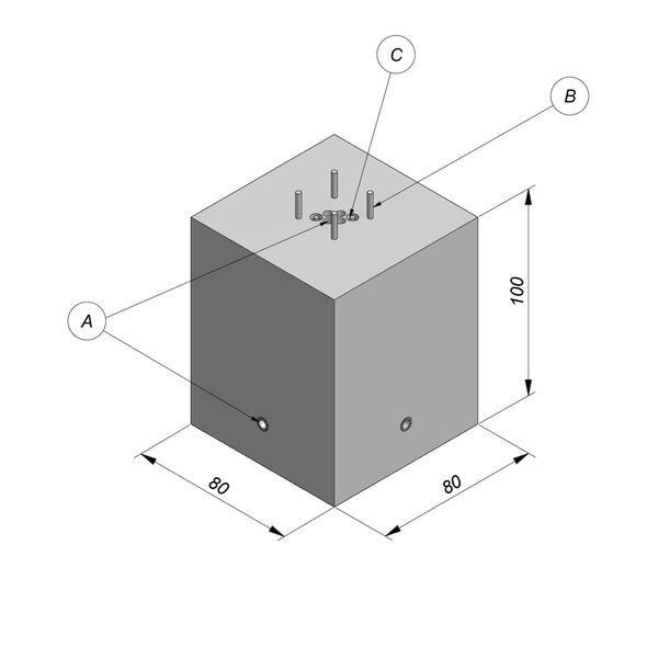 Product image for Bloc de fondation socle pour mât (4 cab.) 80x100x80 cm