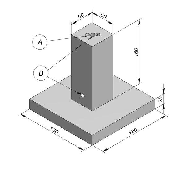 Product image for Bloc de fondation socle 60/180x185x60/180 cm