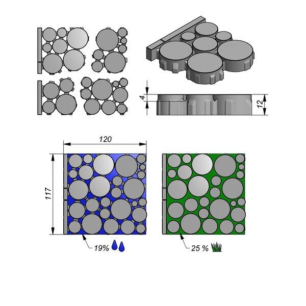 Product image for Eco Solutions Aviena Circle 120x117 cm (4-delig met boordsteen) 2/2 mm