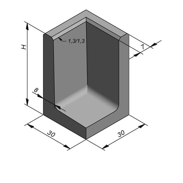 Product image for L-element type 50 30x30 (BxL) Hoekstuk