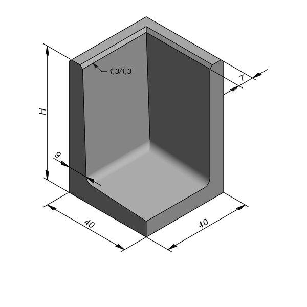 Product image for L-element type 50 40x40 (BxL) x 60 cm (H) Hoekstuk
