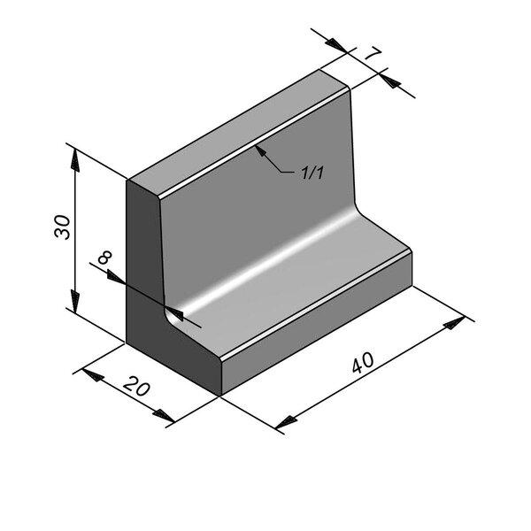 Product image for L-element type 40 20x40 (BxL) x 30 cm (H)