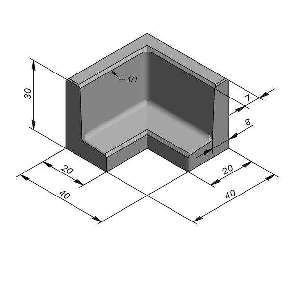 Product image for L-element type 40 20x40 (BxL) x 30 cm (H) Hoekstuk