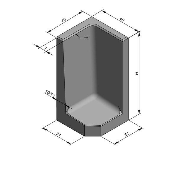 Product image for L-element type 40 40x40 (BxL) Hoekstuk
