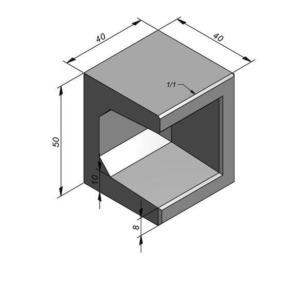 Product image for U-element 40x40 (BxL) x 50 cm (H) Hoekstuk