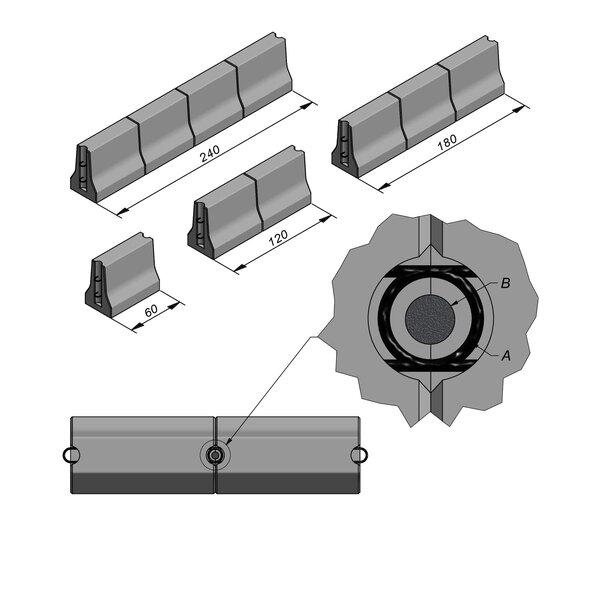 Product image for Bordure chasse-roues moyen New Jersey 50x32 double face Droit  longueurs et connexion